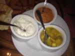 Cucumber Raita, Mango Chutney, Roasted Red Bell Pepper Hummus