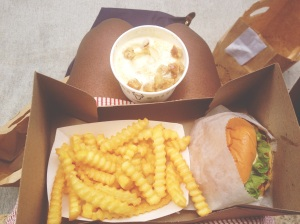 Shack Burger, fries, and concrete