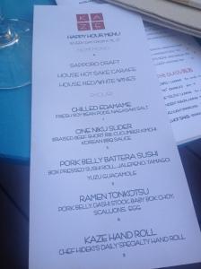 Kaze Happy hour menu