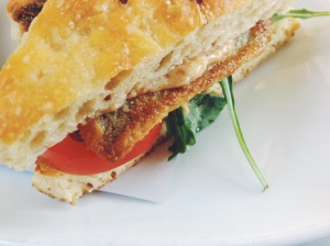 the anchor, trout blt closeup